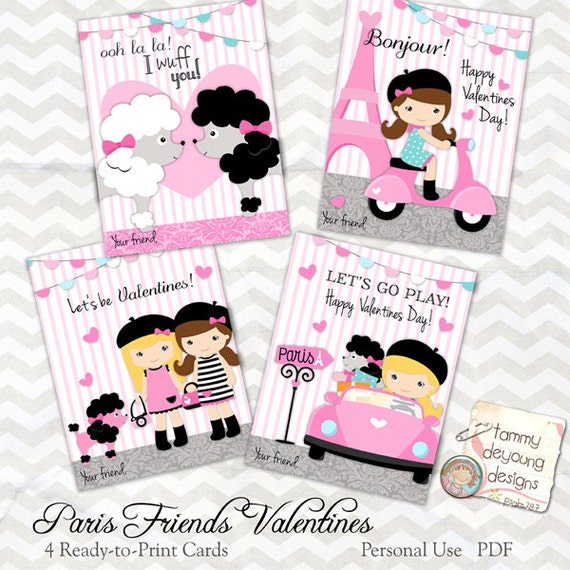 Items similar to Paris Valentine cards for girls Kids Valentines – Valentines Cards for Girls