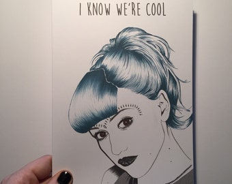Gwen Stefani 'i know we're cool' illustrated card