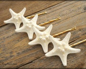 BEACH WEDDING Hair Accessories, White Starfish Hair Pins, Seaside Bridal Accessories, Nautical Wedding Hair Accessories by Cheydrea