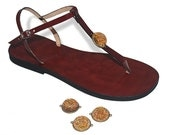 Real Dried Flower Leather Sandals Thongs Handmade Round Cabochon - Floral