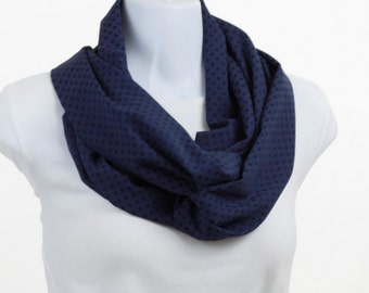 Sheer Long Infinity Scarf - Rich Blue with Polka Dots ~ SH233-L5