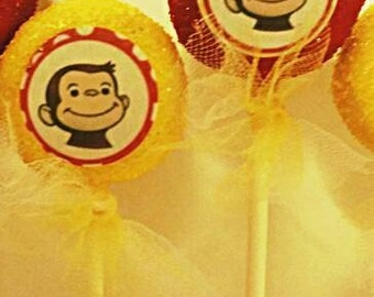 12 Monkey  party favor cake pops with edible images