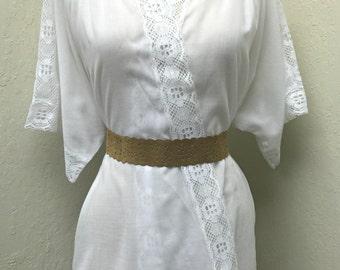 Vintage 1980's Boho Lace Blouse Shirt Lace Jacket S / M / L White Wedding Bridal