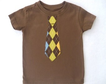 Argyle Tie Shirt / Toddler Boy / Brown / CLEARANCE