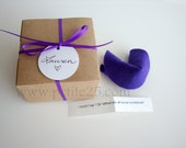 Bridesmaid Invitation: ONE (1) Felt Fortune cookie, wedding favor, place card, secret message, Will you be my bridesmaid