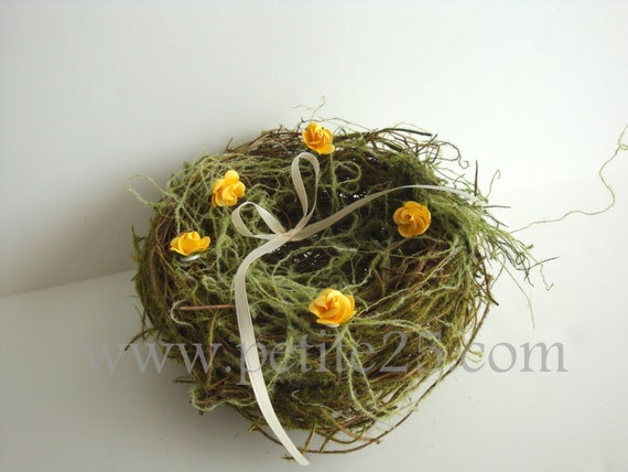 7 Inch Birds Nest ring bearer pillow, custom colors, rustic, shabby chic, country, romantic generous size alternative