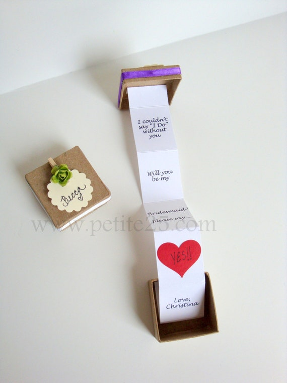 ONE 1 Pop Up Message In A Box Will You Be My Bridesmaid