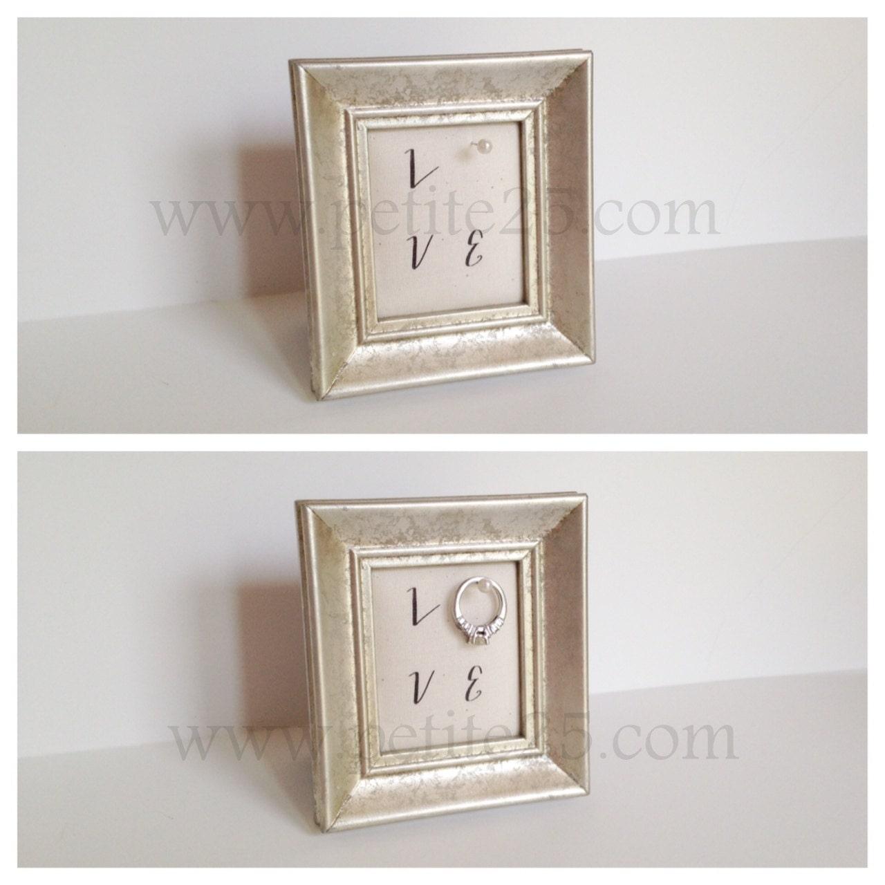 Wedding ring holder rectangle silver frame engagement ring