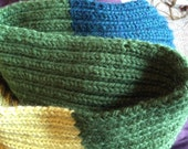 The Chunky Loop Scarf in Turquoise, Forest Green, and Chartreuse FOR ABBY