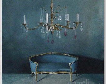 Still life Painting Poster Art Print Illustration Acrylic Painting crystal chandelier antique interior Wall Decor Wall hanging Wall Art gift