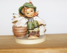 Vintage MI Hummel Playmate Boy with 3 Rabbits Collectible Figures Figurines Porcelain PRICE REDUCED