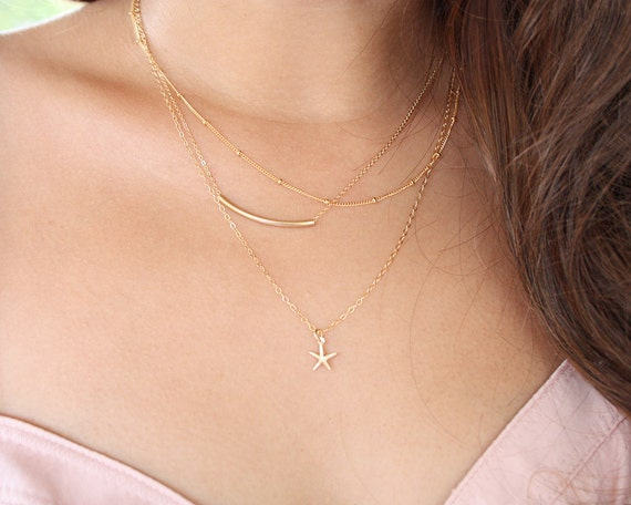 Tiny starfish necklace - 14K gold filled, small simple delicate modern jewelry, everyday wear, bridesmaids gifts, mom mother sister necklace