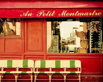 """Paris photography, Paris print, Paris bistro, Paris in Red - """"Au Petit Montmartre"""""""