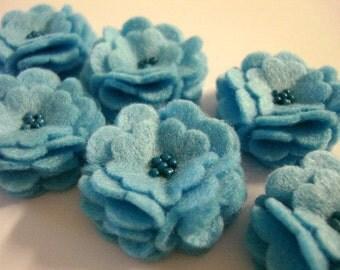 Set of 6pcs handmade felt flower - blue (SCF)