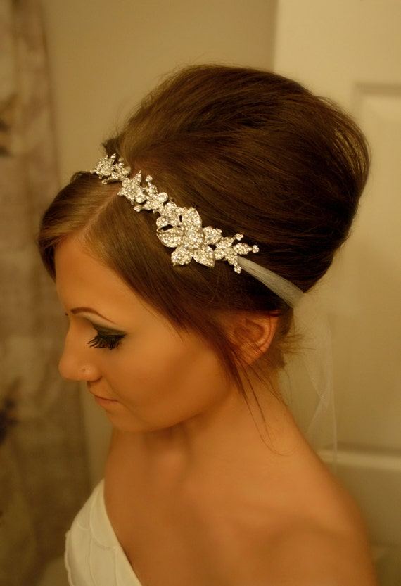 Bridal Headband, Bridal Head Piece, SHAY, Rhinestone Headband, Wedding Headband, Tulle Bridal Hair Piece, Bridal Headpiece, Rhinestone
