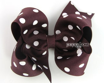 Maroon Polka Dot Hair Bow - Baby Toddler Girl -  Maroon and White Polka Dot 4 Inch Boutique Bow on Alligator Clip Barrette