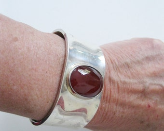 Sterling Silver Carnelian Cuff Bracelet Modernist Art Deco Mexican Silver - FL/CT