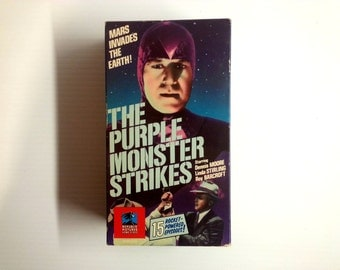 vintage Sci Fi movies . The Purple Monster Strikes . box set VHS movies . vintage movie case . VHS collectible
