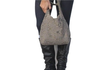 lace hobo bag. taupe lace with design your own choices. Shoulder purse or crossbody bag. Large or medium