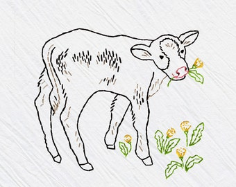 Cow Tea Towel Embroidery Kit, Cow Stitching Kit, BLack and White Cow, DIY Sewing, Beginner Sewing Kit - 'Calf' Heidi Boyd