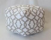 """24"""" Ottoman Pouf Floor Pillow Ecru Sheffield"""
