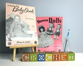 Two 1940s-1950s Doreen crochet knit booklets - retro baby patterns and doll patterns - vintage baby - 29 DIY patterns