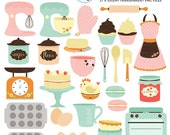 Retro Baking Clipart Set - clip art set of baking, cakes, mixers, oven, apron, scales - personal use, small commercial use, instant download