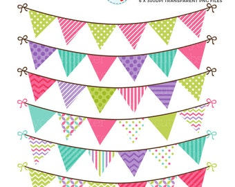 Patterned Bunting Clipart Set - digital bunting, clip art set, bunting, pink, green - personal use, small commercial use, instant download