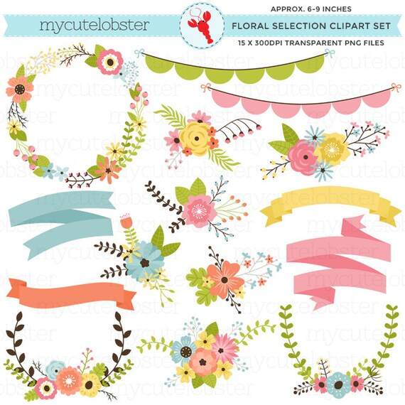 Floral Clipart Set - floral selection, flowers, wedding clipart, banners, bunting - personal use, small commercial use, instant download