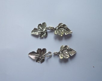 1 Solid Sterling Silver 925 Fancy Grape Leaf hook and eye clasp set beads (1 strand)