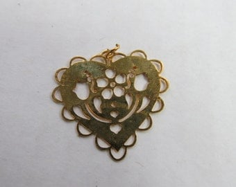 Vintage Gold Tone Dutch Folk Art Heart Pendant or Finding for Project