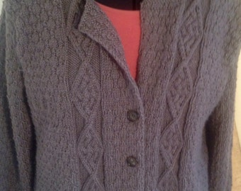 Hand Knit Cardigan, Button up shrug - sweater  - hand knit, button, cabled sweater, cabled cardigan