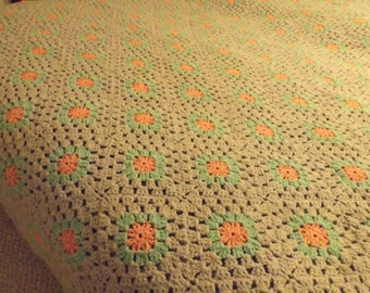 """SALE Antique wool hand crocheted bedspread afghan Queen full afghan .102""""x 98"""" pastel pink green grey background Home decor Bedding"""