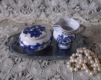 Miniature Switzerland, blue and white china pair, Wengen, trinket dish and pitcher