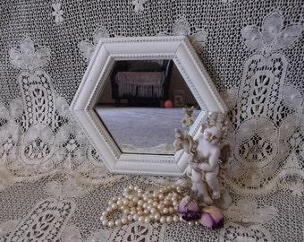 Shabby elegant Distressed Creamy White Hexagon Mirror Small/petite