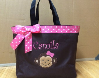 Personalized Monkey Girl Tote Bag Baby Diaper Bag