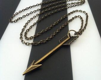 Simple Large Brass Arrow Necklace