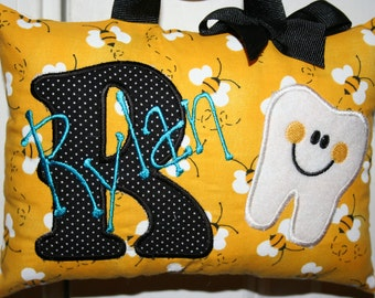 Girls Tooth Fairy Pillow Personalized Tooth Chart Bees Yellow Black