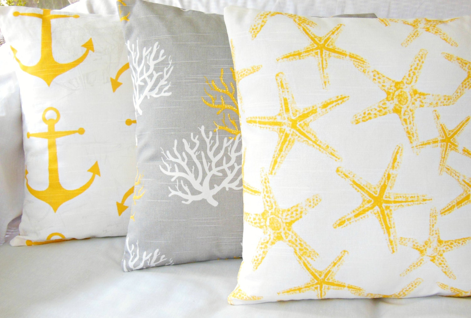 Nautical Coastal Throw Pillows : Gray Yellow Nautical Throw Pillow COVERS Beach Cushion Coastal
