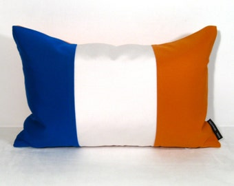 """SALE, New York Flag Pillow Cover, Blue White Orange, Outdoor Indoor Throw Pillow Case, NYC Knicks, Sunbrella Cushion Cover, Brooklyn 12""""x18"""""""