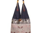Thai Cotton Shoulder Bag Purse Elephant Play Umbrella Hippie Hobo in Tan DA2