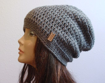 Slouchy Beanie Gray Hat - Crochet Slouch Beanie Womens Grey Beanie Hipster Hat - Gray Slouchy Beanie - Fall Apparel - Vegan Hat