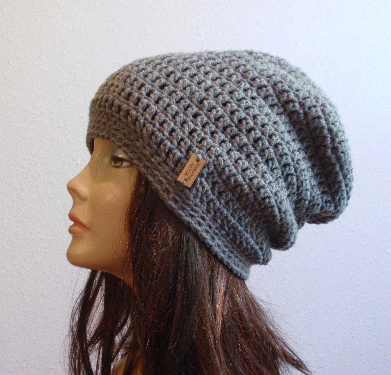 Crochet Slouch Hat: Slouchy Beanie Gray Hat Crochet Slouch Beanie Womens Grey