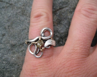 Conflict-Free Rough Diamond--Yellow/Gray Rough Diamond--Engagement or Wedding Ring of Mixed Metals