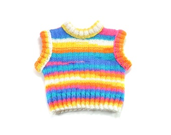 Knitted Baby Vest - Orange, Blue, White and Yellow , 6 - 12 month