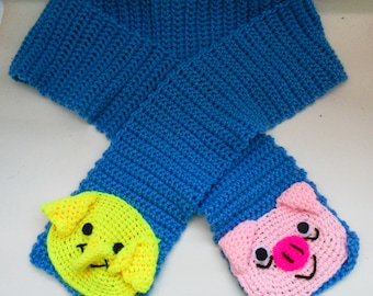 Crochet Tree Trunks the Elephant and Mr Pig from Adventure Time Scarf