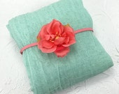 Mint Cheesecloth Wrap with Coral Pink Flower Headband for Newborn Baby Girl Photo Session, Baby Shower Gift