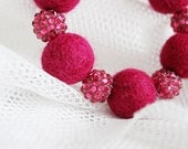 FINAL SALE Hand felted bracelet in raspberry (wine red, burdundy). Glitter balls, sparkle elements. Felt fashion. Geometrical, Balls