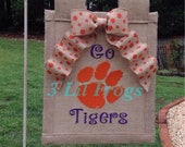 Clemson Go Tigers embroidered  burlap garden flag