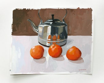"8x10"" original painting - ""Three Clementines""  - minimal still life"